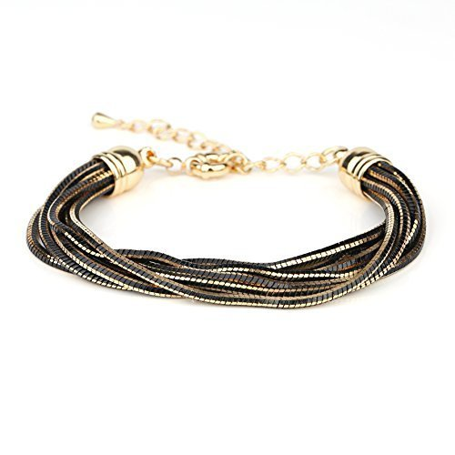 UE- Sophisticated Multi Strand Gold Tone Designer Bracelet With Black Overlay