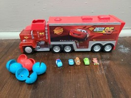 Disney Cars Squinkies with Mack Truck Hauler Squinky Carrier Case - $24.18