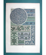 PERSIA Persian Enameled Glazed Tiles - COLOR Litho Print A. Racinet - $22.95