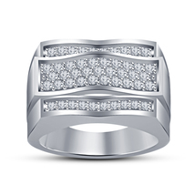 14k White Gold Plated 925 Silver Men's Wedding Band Ring Round Cut Sim D... - $73.39