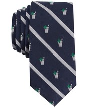 NEW $55 BAR III NAVY SILVER STRIPED MINT JULEP PRINT SLIM SILK BLEND NEC... - $3.47