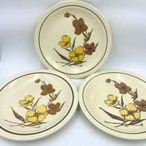 3 Vtg 1977 Homer Laughlin Dinner Plate Brown Yellow Flowers Stoneware HLC188 DH1 - $34.95