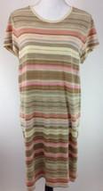 Lauren by Ralph Lauren Womens T-Shirt Dress XL Pink Beige Striped  B10-15 - $16.37