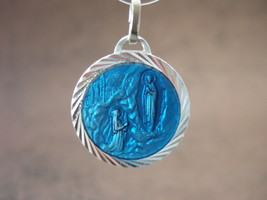 Catholic Medal OUR LADY OF LOURDES & St. Bernadette with water vial blue enamel - $12.19