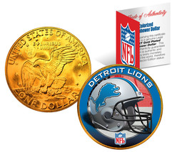 DETROIT LIONS NFL 24K Gold Plated IKE Dollar US Coin *OFFICIALLY LICENSED* - $9.85