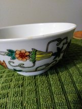 Vintage Chinese Porcelain Bowl, Hand Painted Butterflies, Flowers Gourds Asian B image 6