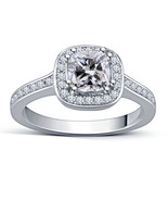 14k White Gold Finish 925 Sterling Silver Womens Halo Engagement Diamond... - $67.99