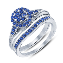 Bridal Wedding Ring Set Round Cut Blue Sapphire White Gold Over Pure 925 Silver - $89.99