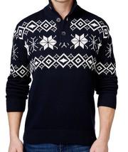 Weatherproof Vintage Men Christmas Sweater Navy 1/2 Zip Snowflake Knit P... - $24.99
