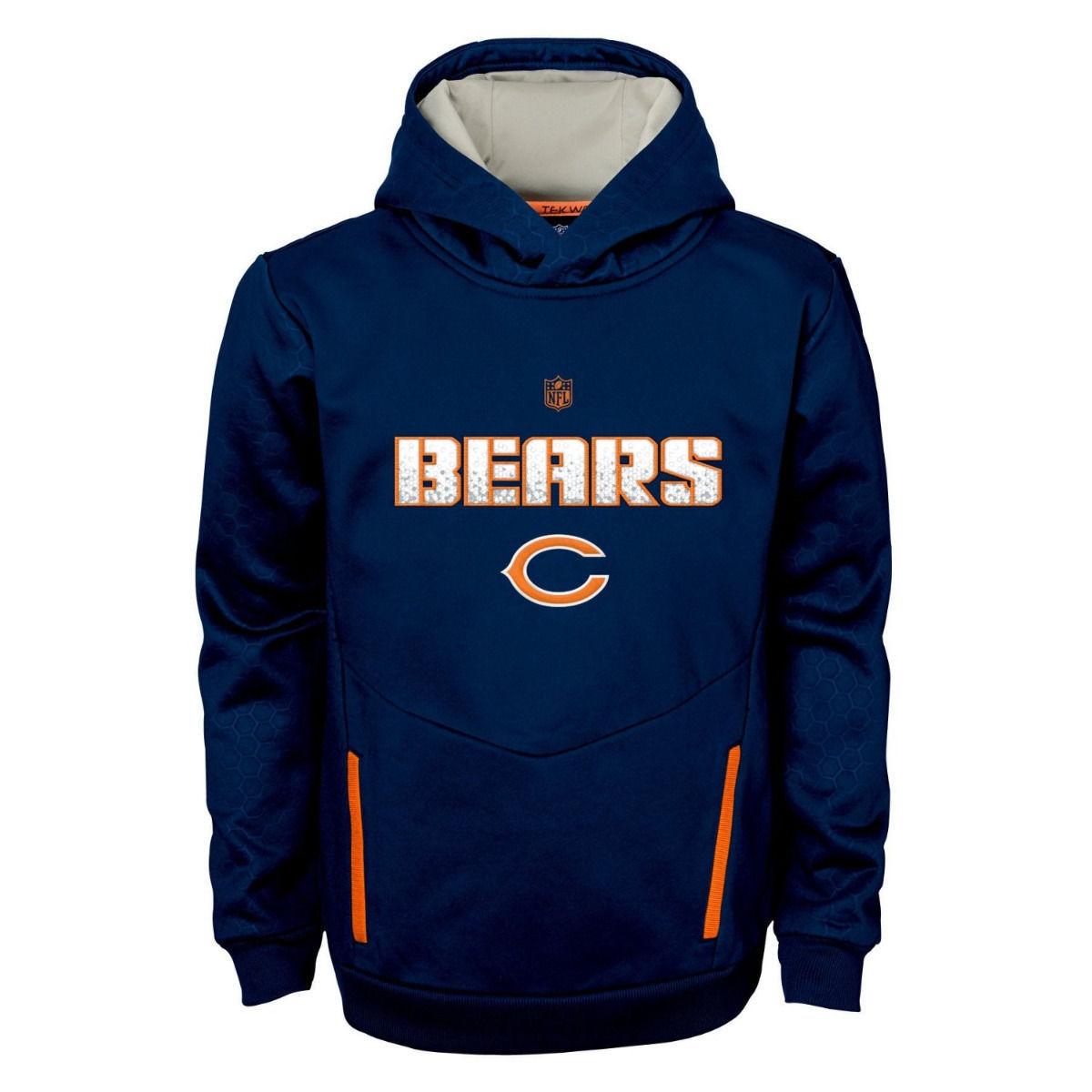 Chicago Bears Hoodie Boy's 8-20 NFL Shadow Hooded Pullover Tek Sweatshirt Youth