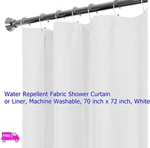 "Shower curtain fabric liner machine wash 70x72 "" dry quick solid soft magnet USA - $16.82"