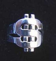 0590 DOLLAR Real Solid Sterling Silver Money Sign Ring - $30.63