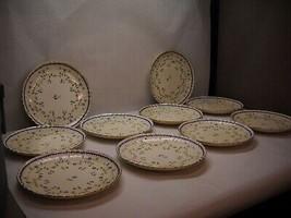 Vintage Set Of 10 Minton China Salad Plates Cobalt Blue Floral Design Gold Trim - $34.27