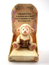 Russ Berrie Prayerful Thoughts Ceramic Lamb with Bible Figurine - $9.89