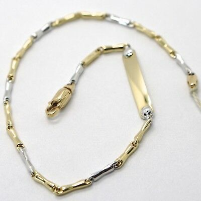 18K WHITE & YELLOW GOLD BRACELET WITH PLATE ENGRAVABLE 7.9 INCHES MADE IN ITALY