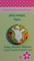 Glittery Ghost Needleminder fhalloween fabric cross stitch needle accessory - $7.00