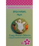 Glittery Ghost Needleminder fhalloween fabric cross stitch needle accessory - $7.00