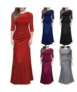 Women's Long Formal Prom Evening Cocktail Bridesmaids Gowns Party Lace D... - $34.00