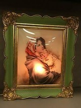 Vintage Light Up Framed Madonna and Child Picture Bubble Glass - $59.39