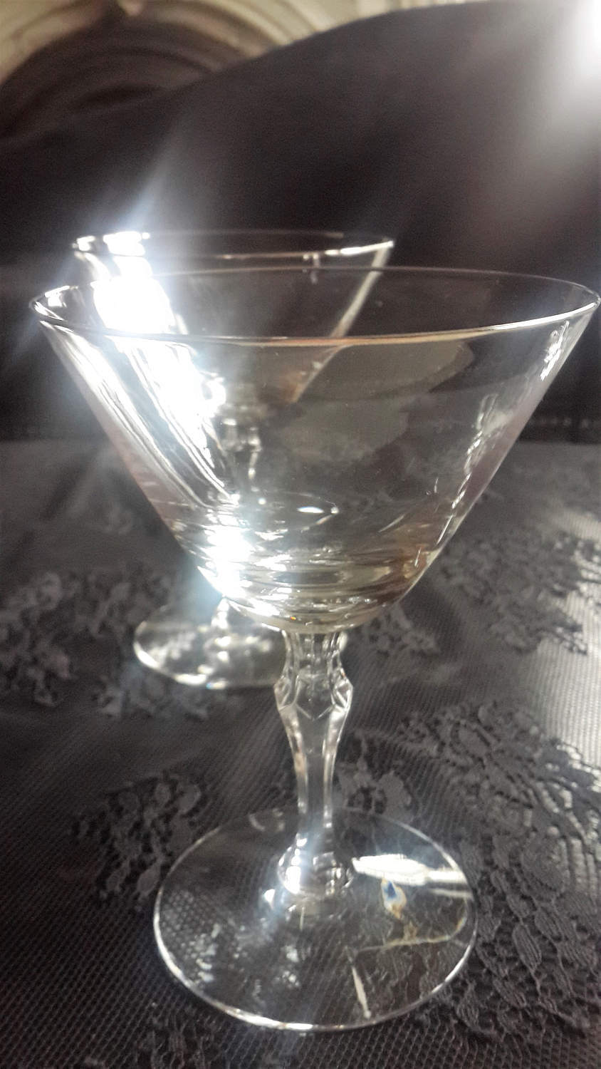 Fostoria Crystal Glass stemware platinum trim Martini Champagne glasses SET OF 3