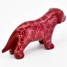 Vaneal Group Hand Carved Kisii Soapstone Red Standing Puppy Dog Figurine Kenya image 4