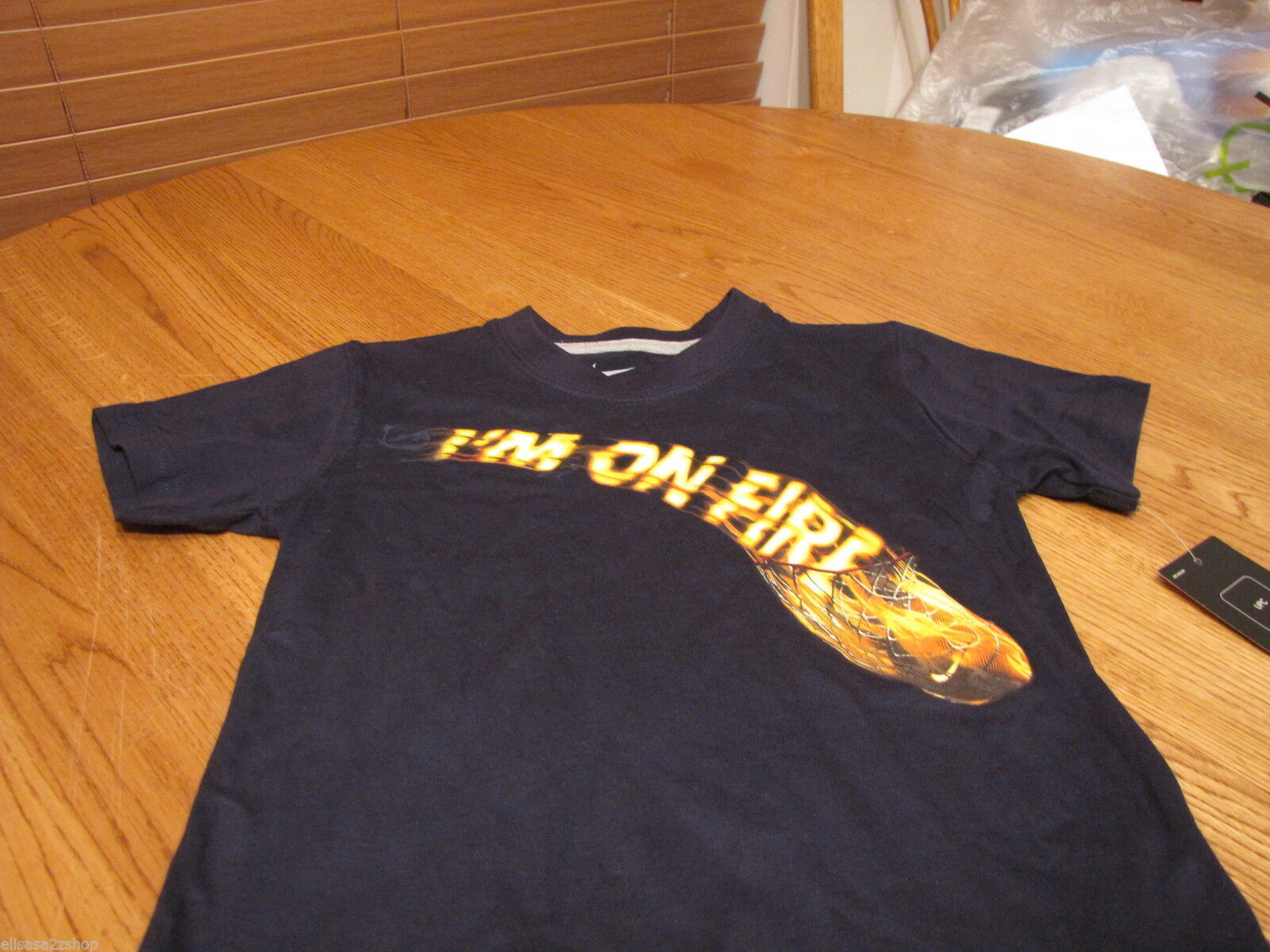 Boy's Youth 6 Nike T Shirt obsidian navy basketball TEE I'M on fire hoops NEW