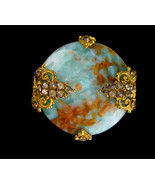 Antique haunted glass Brooch - eerie moon design - Victorian jewelry - e... - $145.00