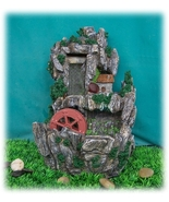 Happy Mountain Cottage with Mill Wheel Waterfall Tabletop Fountain - $95.14