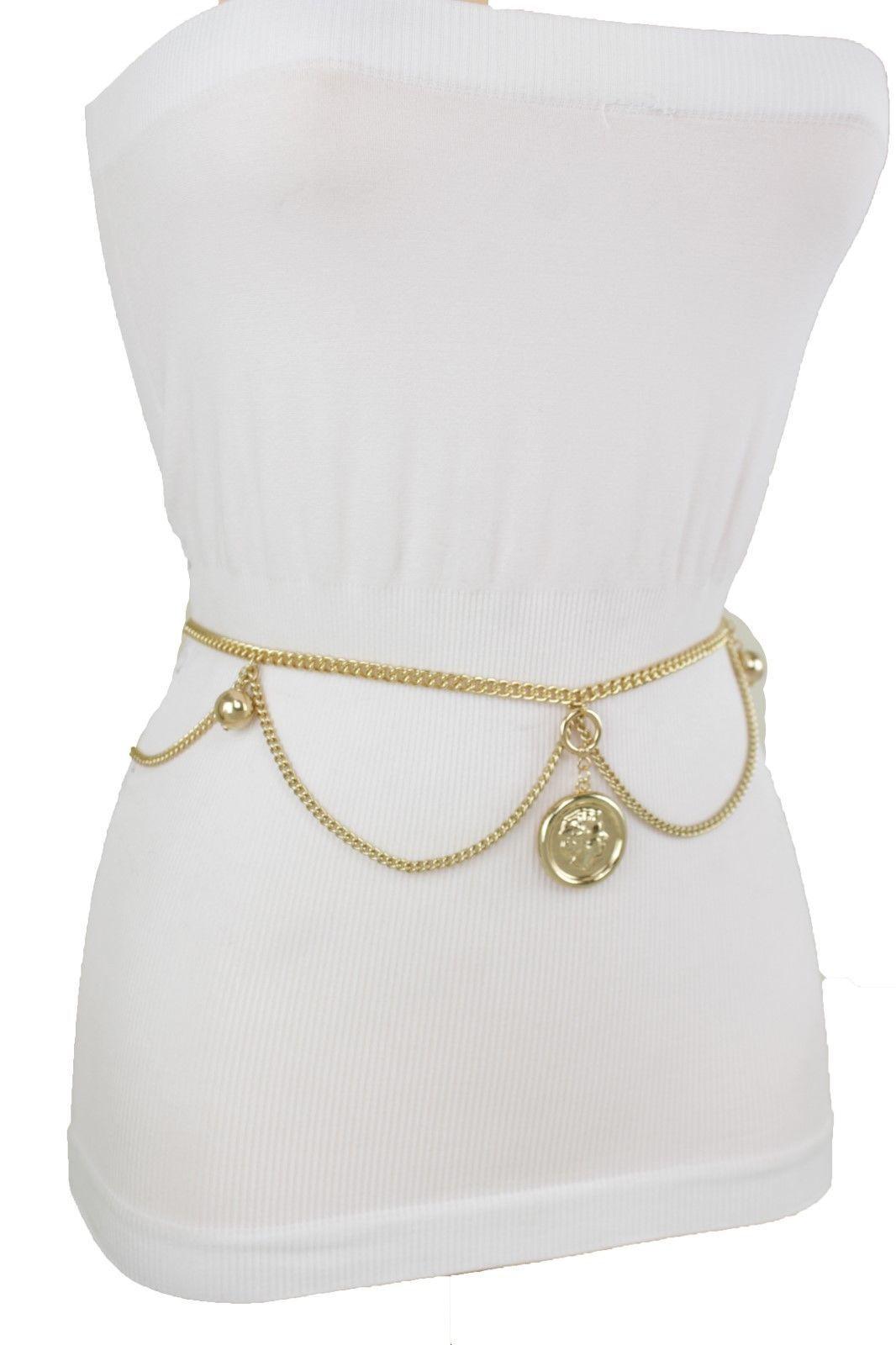 Women Skinny Belt Fashion Gold Metal Chain Link Coin Ball Charm Size XS S M L XL