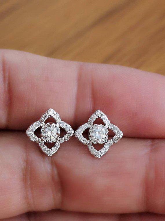 14k White Gold Finish Flower Stud Earrings,Gift for her 14K White Gold Finish