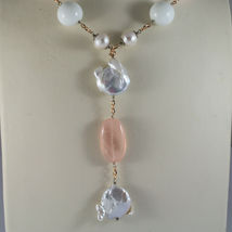 .925 RHODIUM SILVER ROSE GOLD PLATED NECKLACE WITH PINK QUARTZ, PEARL AND AGATE image 3