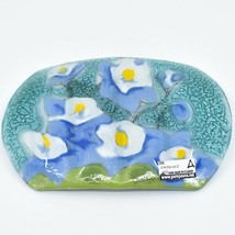 Fused Art Glass Blue Columbine Flower Floral Design Soap Dish Handmade Ecuador image 2
