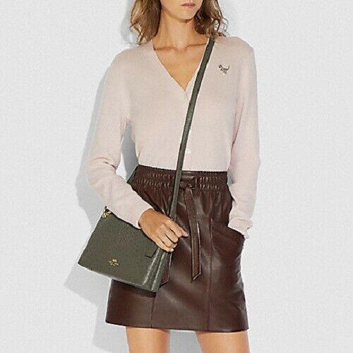 Coach Mia Ostrich Double Zip 3 Chamber Crossbody Bag in Dark Orange $398 F76644