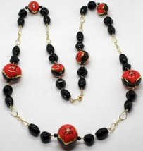 Necklace Yellow Gold 18K with Onyx & Ceramics Hand Painted Made in Italy - $1,415.11