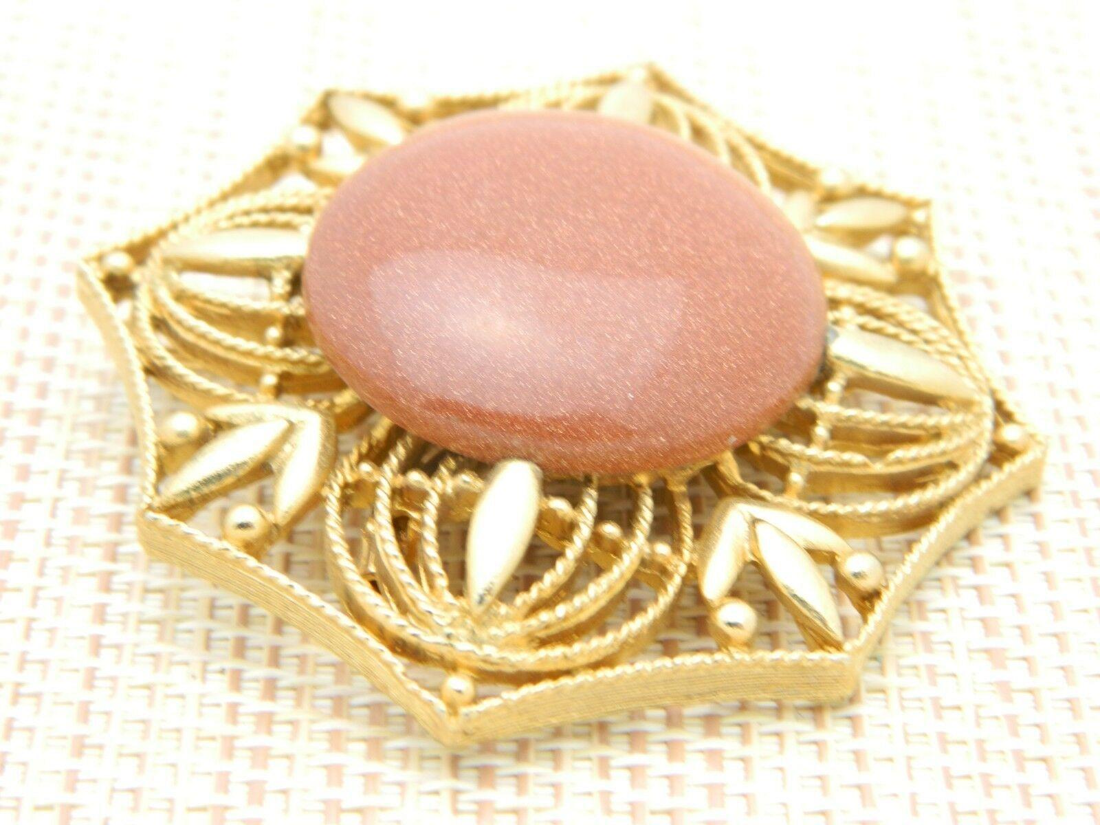 Gold Tone Bronze Goldstone Large Medallion Pin Brooch Vintage