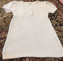 Old Navy Girls Cream White Tunic Sweater Sz Large 10-12 Short Sleeve  - $8.95