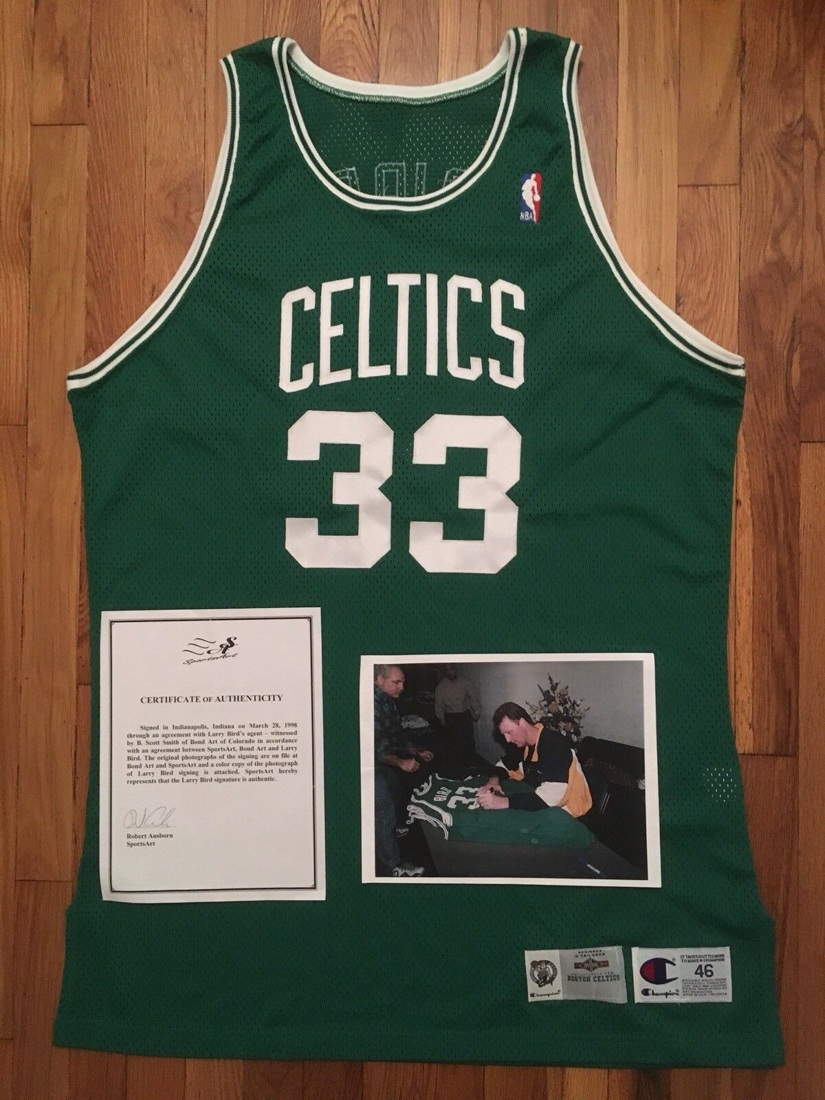 Primary image for 1991-92 Boston Celtics Larry Bird SIGNED / AUTO Pro Cut Jersey 46 + 4 inches