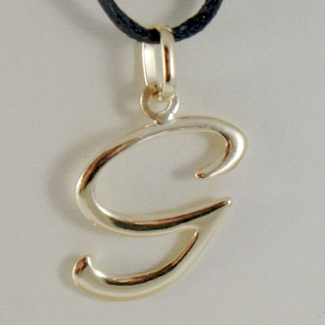PENDANT YELLOW GOLD 18K WITH INITIAL G LETTER G GLOSSY 2,5 CM WITH CORD
