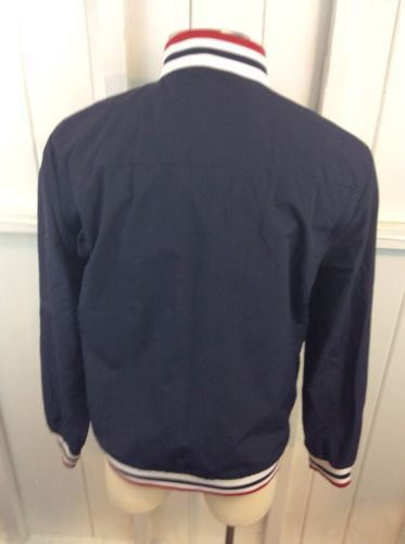 Tommy Hilfiger Blue Box Logo Zip Up Lined Jacket Size L Members Only Style image 5