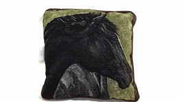 new BLACK BEAUTY Horse Head Throw Pillow w/ Tan Faux Leather trim Size 1... - $18.81
