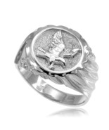 925 Pure Sterling Silver American Eagle Men's Ring All / Any Size Made i... - $44.50