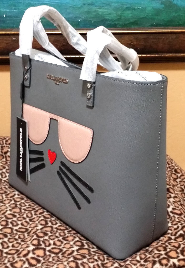 KARL LAGERFELD MAYBELLE SAFFIANO CAT ACCENTED TOTE Gray MSRP$228