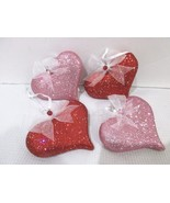 """Valentines Day Shabby Chic Pink Red Glitter Hearts 3"""" Ornaments Decorati... - $22.99"""