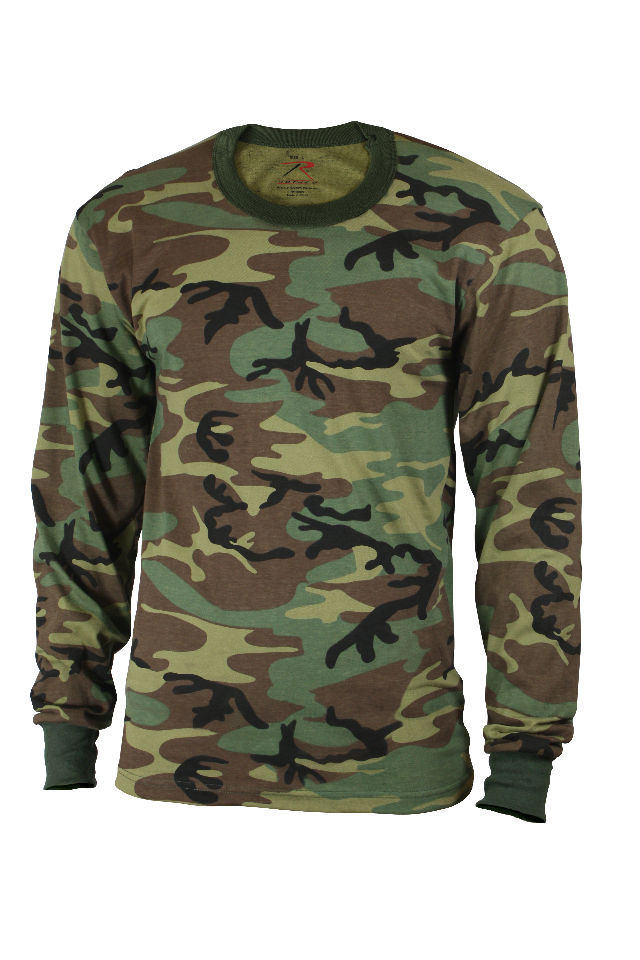 Kids Woodland Forest Camo Airsoft Paintball Military Style Long Sleeve T-Shirt for sale  USA