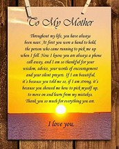 """""""To My Mother"""" Art Image- Thank You For Everything! 8 x 10 Wall Art Ready to Fra"""