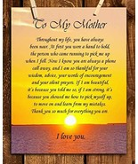"""To My Mother"" Art Image- Thank You For Everything! 8 x 10 Wall Art Read... - $19.24"