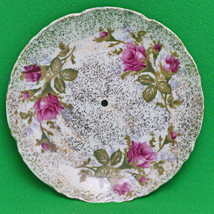 """Unmarked 6"""" Round Dish With Gold Speckle, Red Flowers, And Green Leaves - $1.25"""