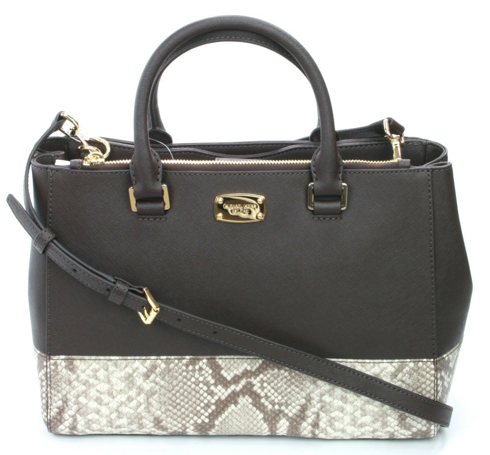 Michael Kors Satchel Bag Dark Sand Brown Embossed Snakeskin Leather Kellen - $296.59
