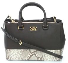 Michael Kors Satchel Bag Dark Sand Brown Embossed Snakeskin Leather Kellen - $296.59