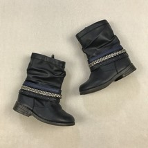Cat & Jack Girls Boots Sz 7 Faux Leather Side Zip Braided Blue Silver Shoes - £11.35 GBP